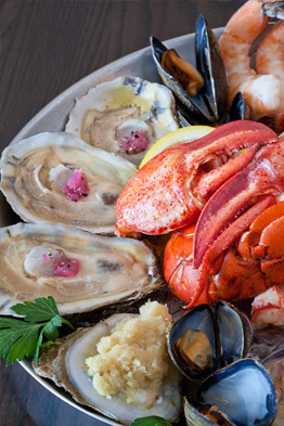 Seafood raw bar platter at The Sole Proprietor in Worcester, MA